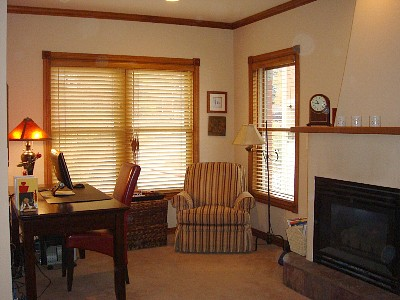Master bedroom office/sitting area. Mountain & town ski runs view from windows.