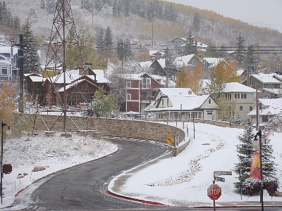 Final stretch of Town Lift runs from master bedroom office, first snow 10/25/10