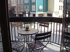 Balcony off Living area overlooking Main St., Summer